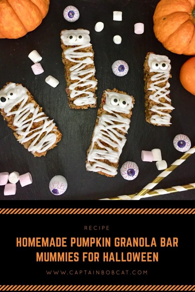 Homemade Pumpkin Granola Bar Mummies for Halloween