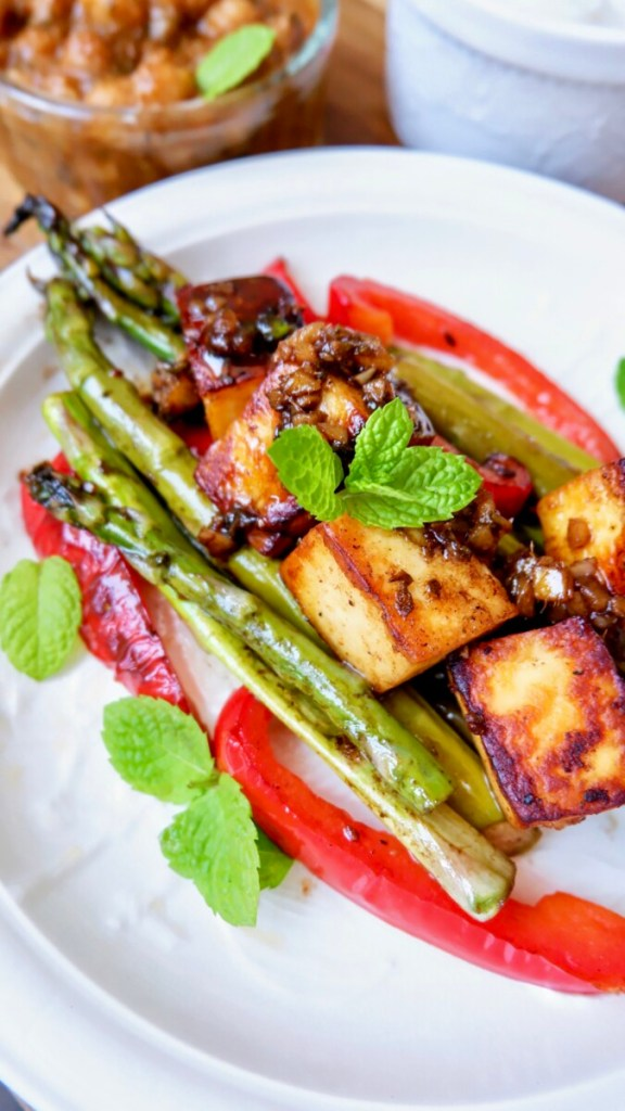 Asparagus, Bell Pepper and Paneer in Balsamic Butter Glaze