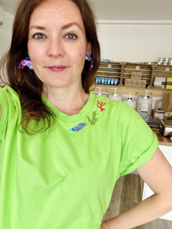 My green t-shirt embroidery