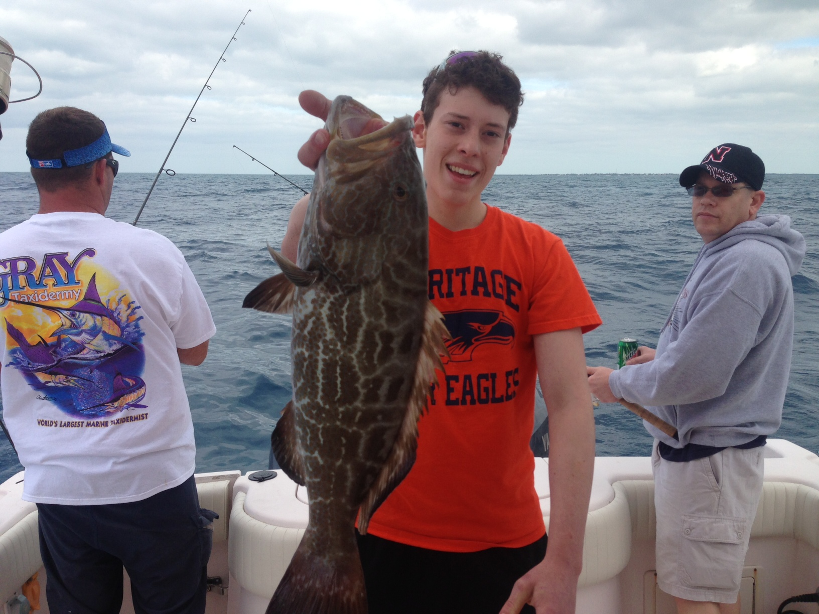 Clay's black grouper. Clay was visiting from Arkansas and was thrilled to land this black grouper.