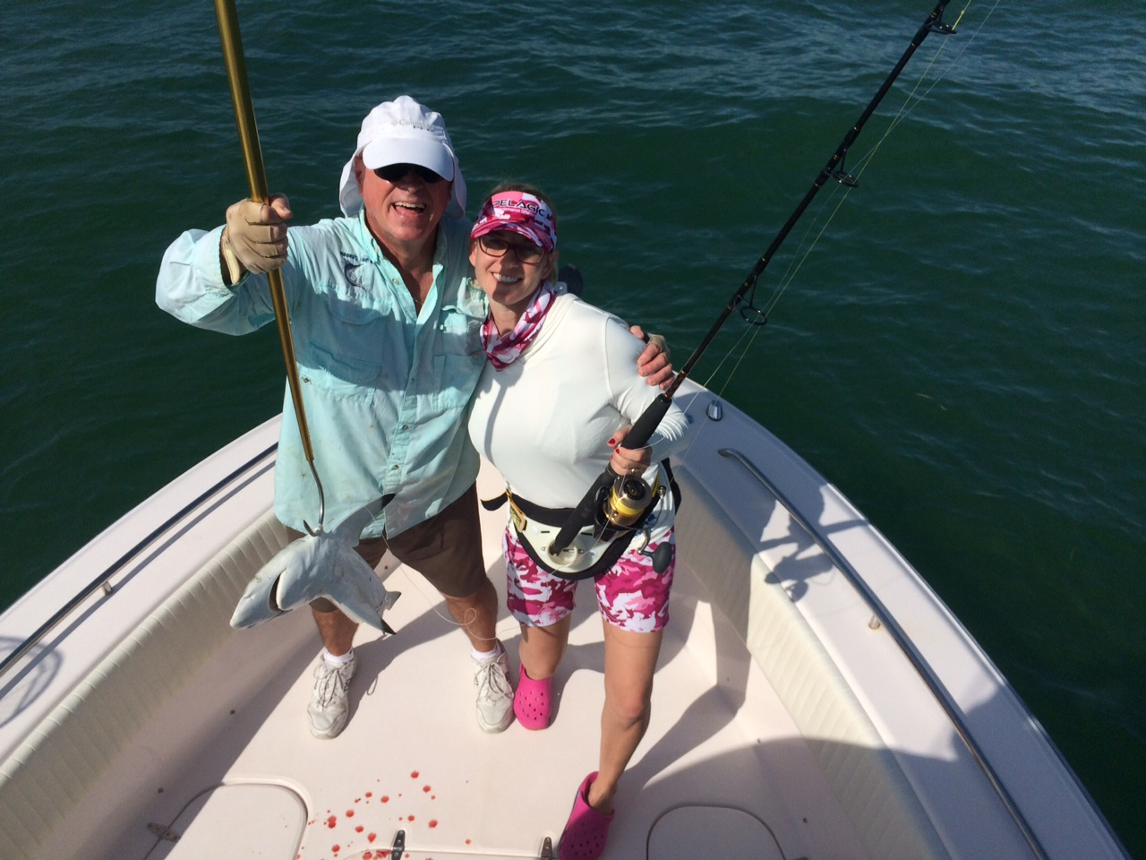 Melissa's first blacktip shark caught on a fishing charter off Marathon in the FL Keys.