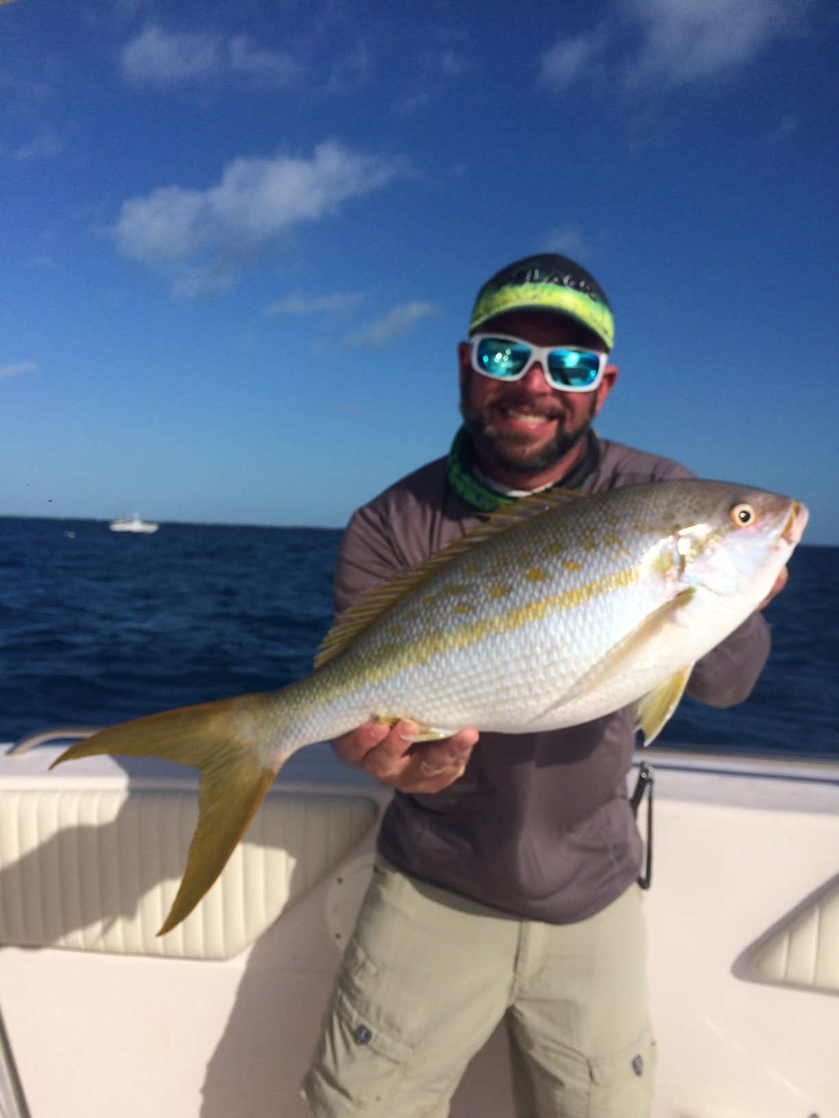 Monster yellowtail snapper caught with Capt. Doug on a reef charter off Marathon in the Fl Keys.