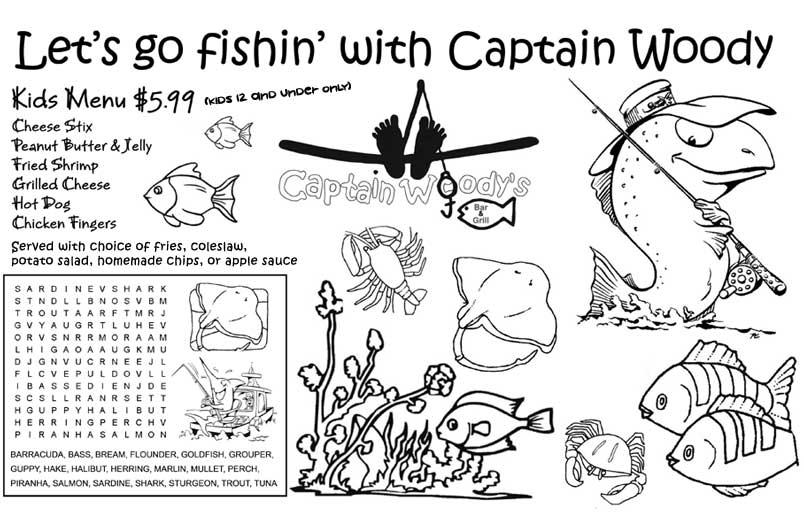 kids menu activities template sketch coloring page