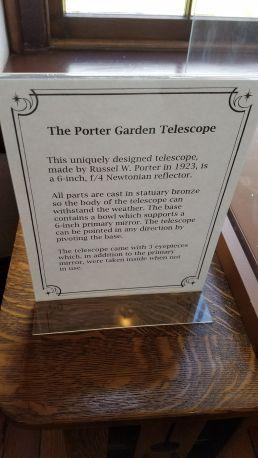 Descripción del telescopio reflector Porter. Foto: Gustavo Sánchez.