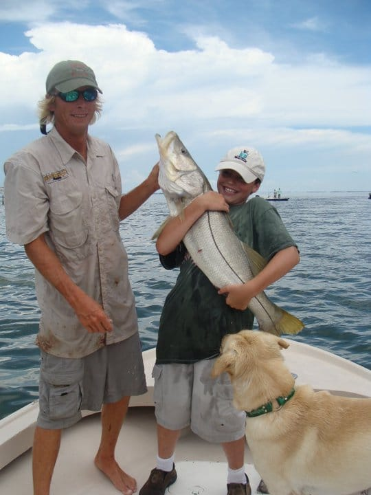 Big Snook & One Happy Little Boy On Sanibel & Captiva Charters! Monday, October 2, 2017. [File Photo: 2005(?)]