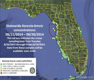 Current Map of Florida Red Tide Counts - Week of August 29, 2014