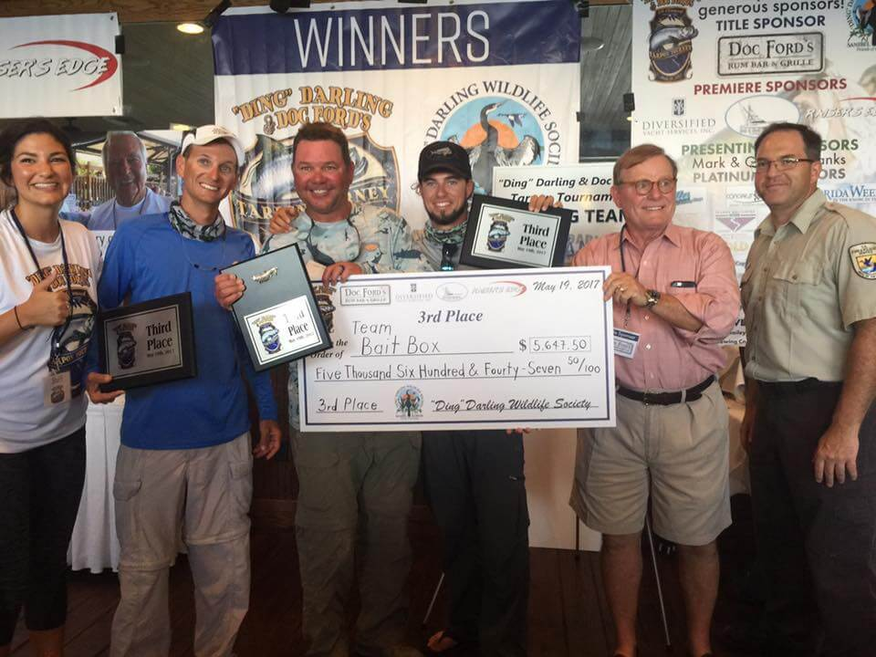 "Team Bait Box Sanibel, 3rd Place, 6th Annual ""Ding"" Darling & Doc Ford's Tarpon Tournament & Takes Home $5,647.50, Saturday, May 20, Captiva Island. Photo Courtesy Of ""Ding"" Darling & Doc Ford's Tarpon Tournament."