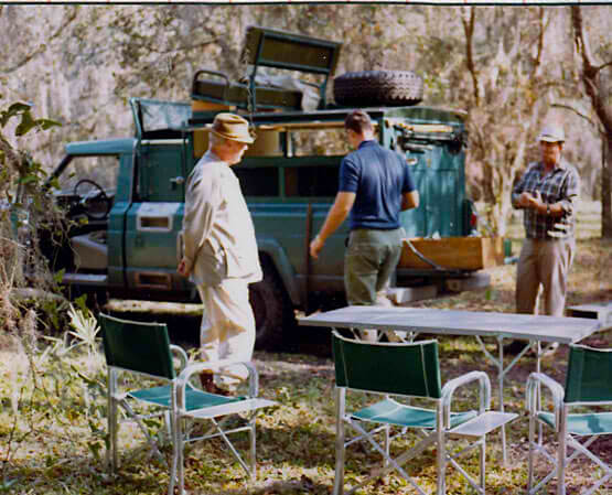 Fingers O'Bannon & Ogden Phipps, Quail Hunting, Clewiston Florida, January 1970. Camp. Source: New York Social Diary.
