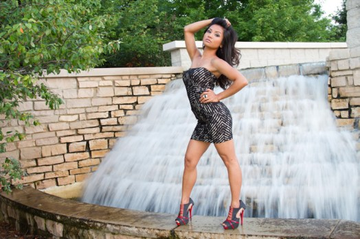 model, waterfall, black dress, heels