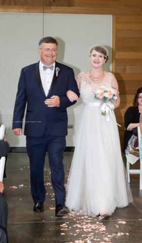 Morton Arboretum Wedding, Bride Walk Down Aisle with Dad