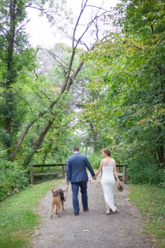 Bride groom dog walk path