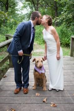 Bride groom kiss dog