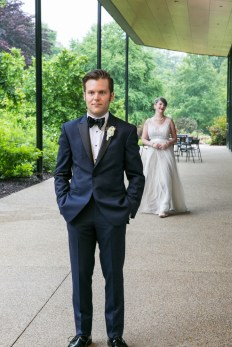 Morton Arboretum Wedding, First look for bride and groom.