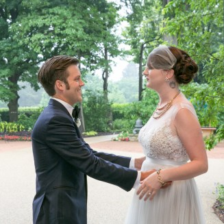 Morton Arboretum Wedding, first look for bride and groom