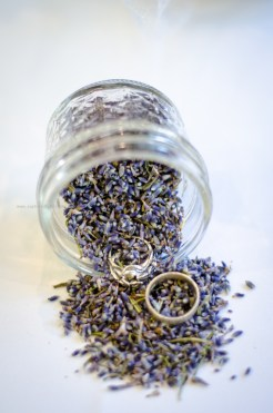 Wedding rings lavender jar