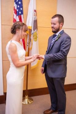 Wedding ceremony ring exchange, Courthouse