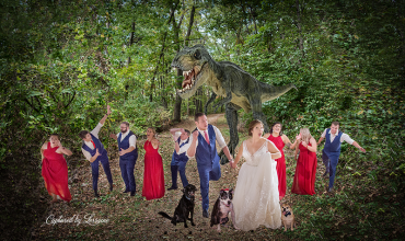 Wedding Dino with dogs