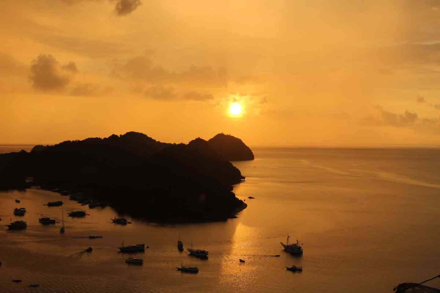 Golden sunset over Labuan Bajo