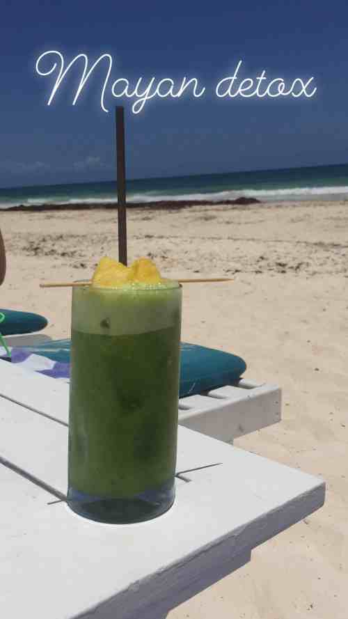 Mayan detox cocktail in Coco Tulum beach club