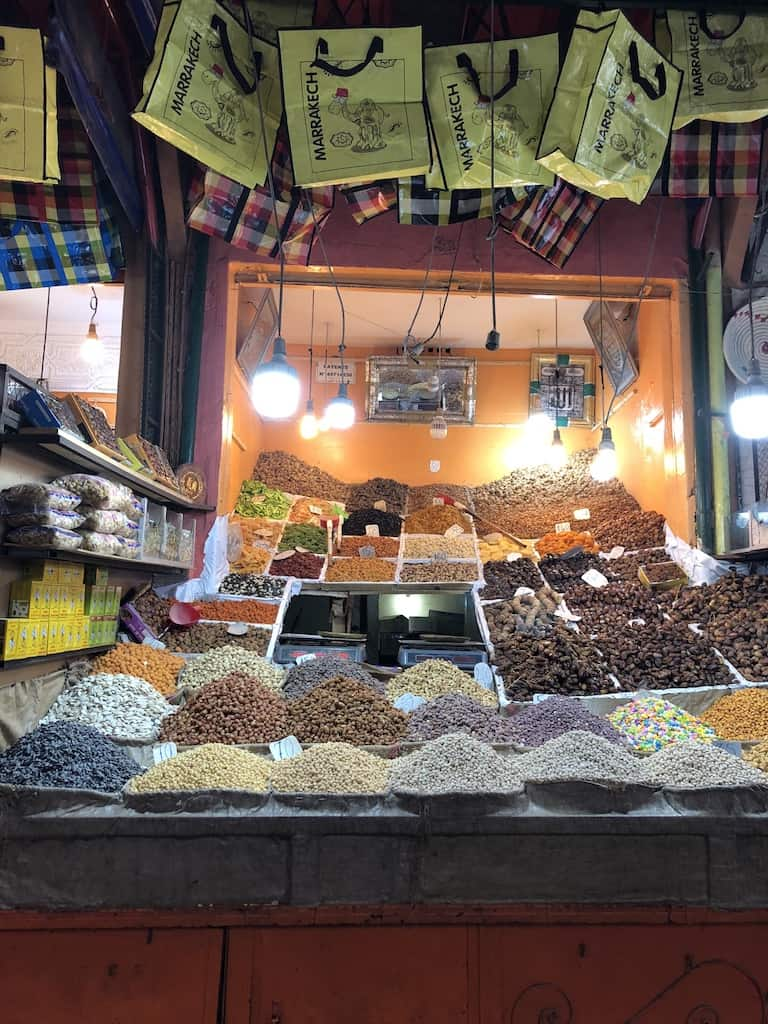 Stall of herbs in souks of marrakech