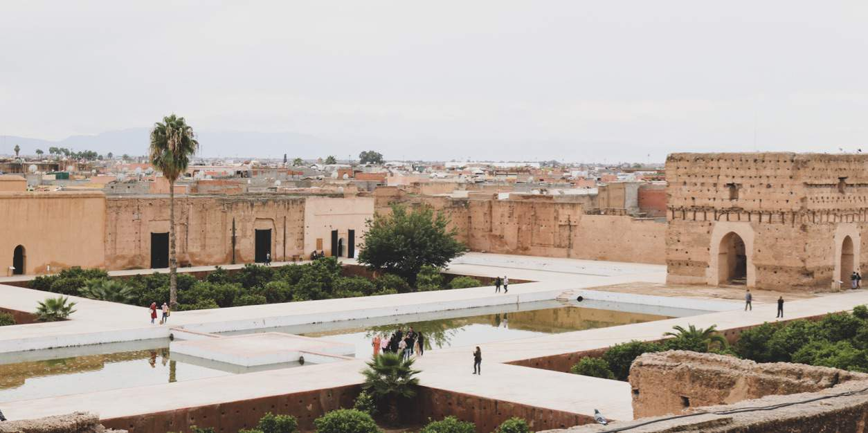 View from above on El Badi Palace in Marrakech