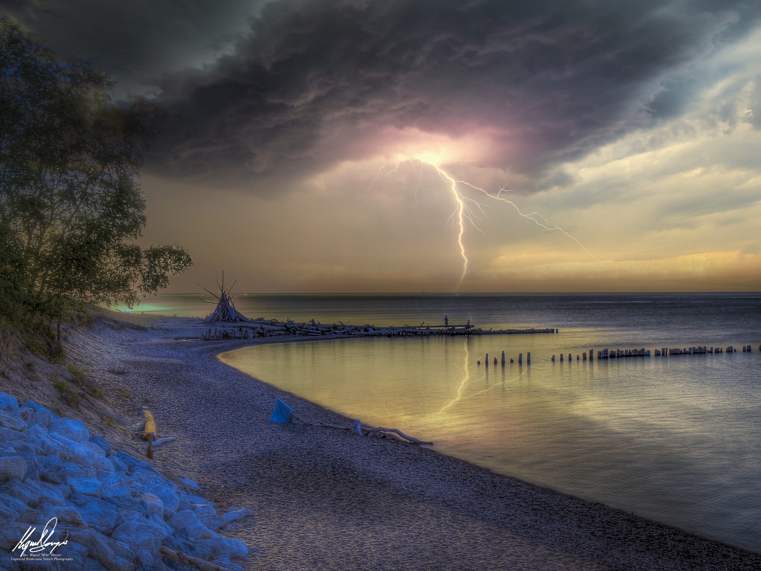 Thunderstorm over Whitefish Point Beach