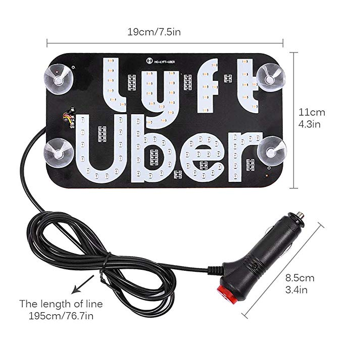 White Led Uber Sign with Suction Cups Glowing Uber Decor Accessories Uber Flashing Hook on Car Window with DC12V Car Charger Inverter 【Ship from  Warehouse】 Uber LED Sign Decor