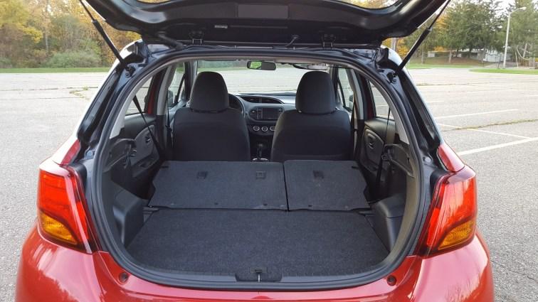 Toyota Yaris rear seats folded down