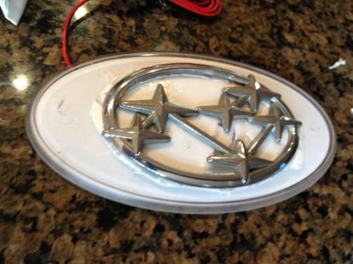 subaru DIY LED badge - indoor testing - emblem comparisons_8072290755_l