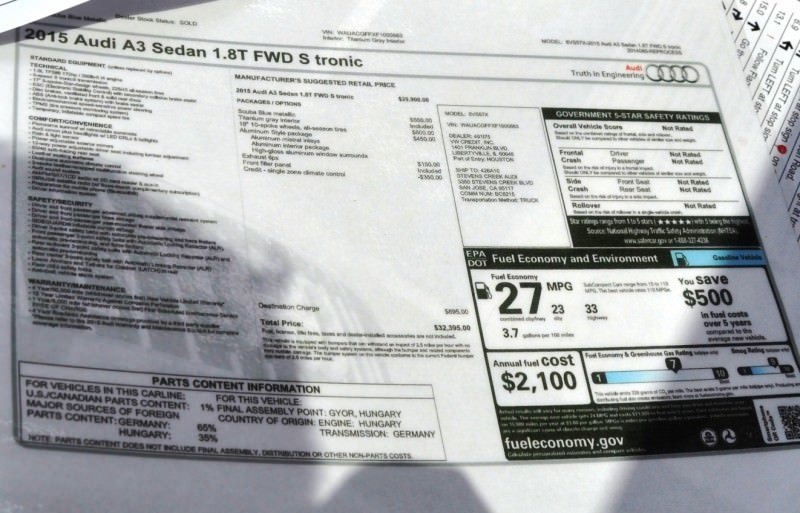 Car-Revs-Daily.com Road Test Review - 2015 Audi A3 Sedan 1.8 FWD 49