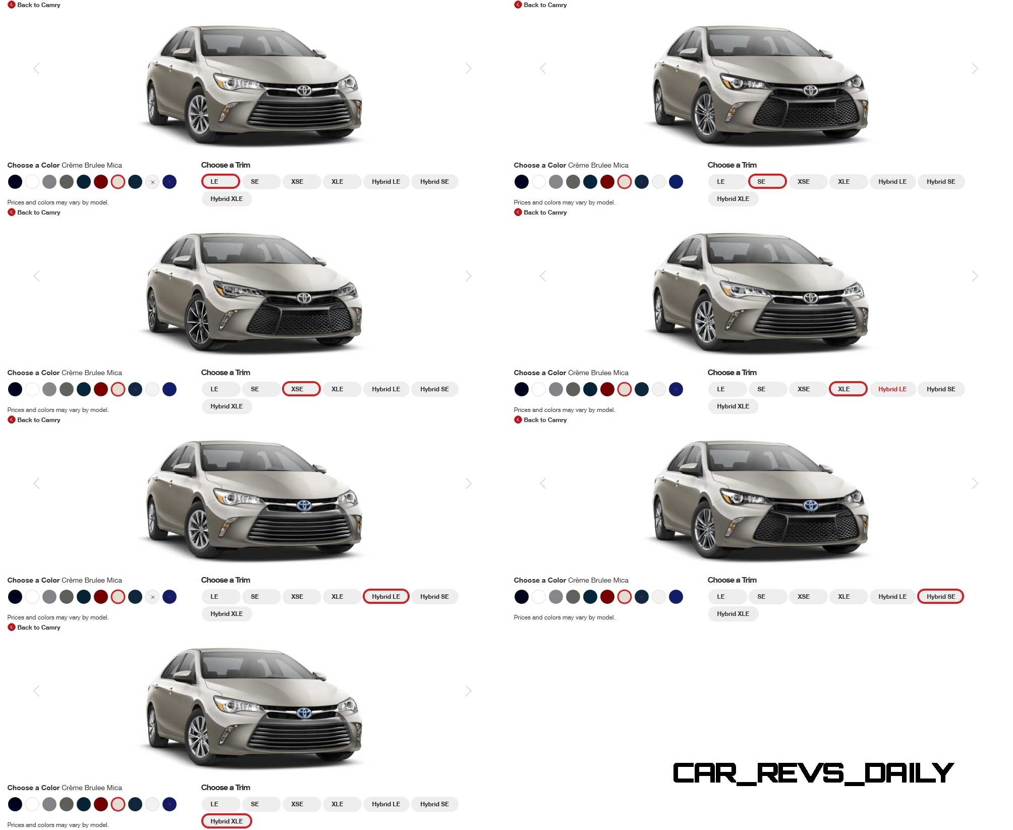 Toyota Camry Colors And Trims