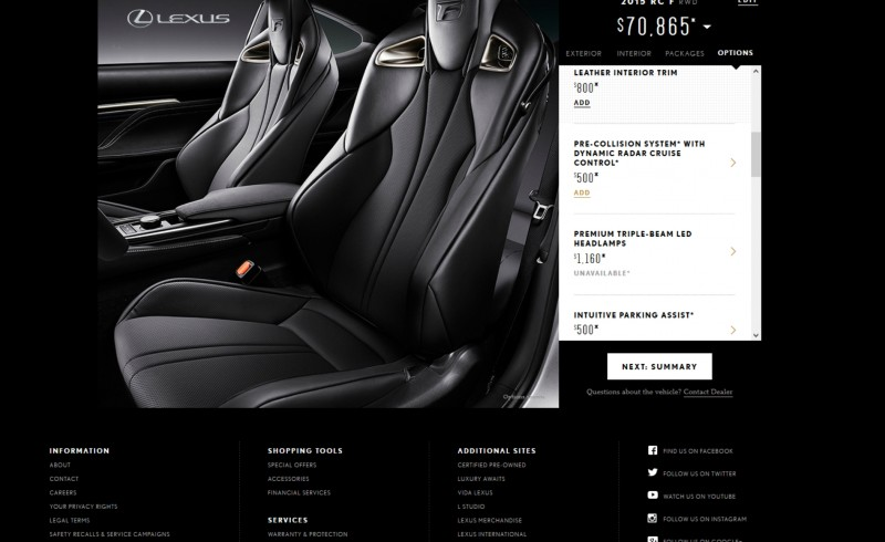 2015 Lexus RC F Colors and Wheels Visualizer 11