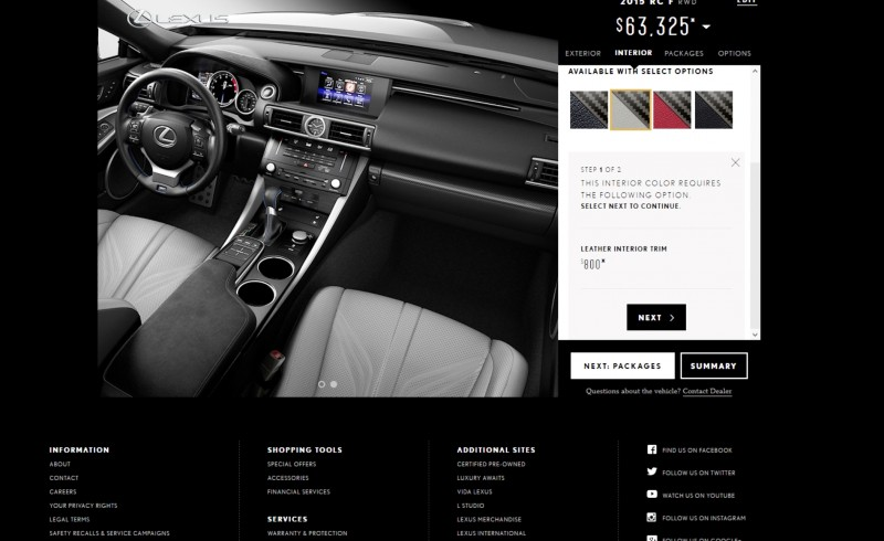 2015 Lexus RC F Colors and Wheels Visualizer 6