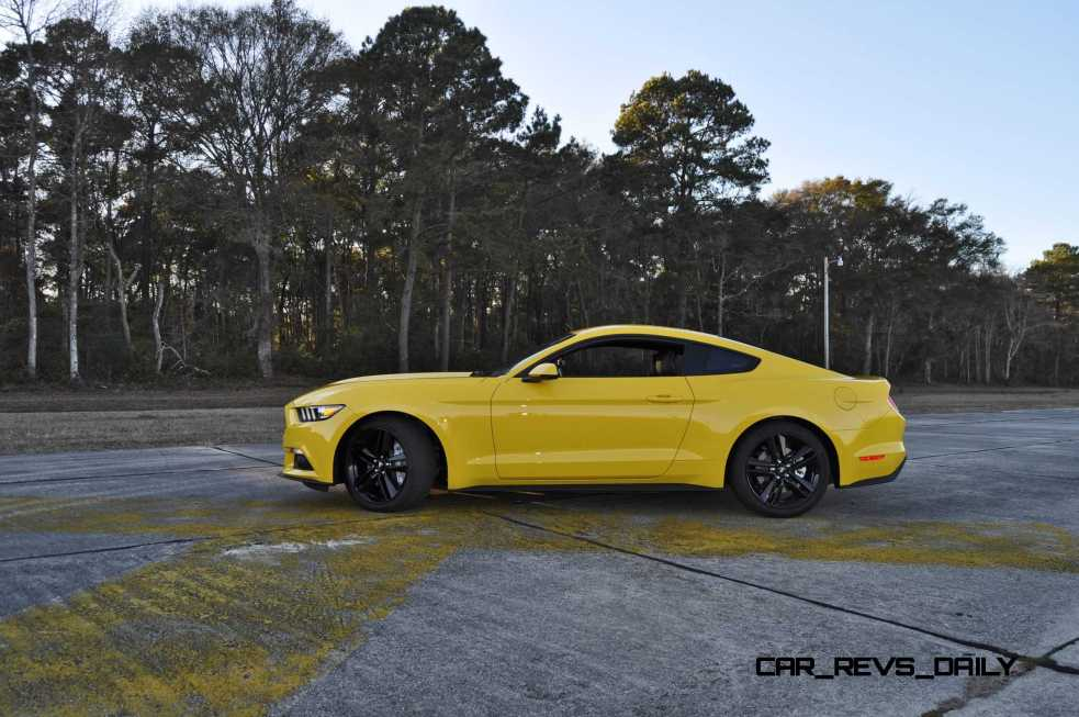 HD Road Test Review - 2015 Ford Mustang EcoBoost in Triple Yellow with Performance Pack 118