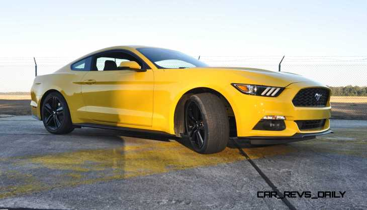 HD Road Test Review - 2015 Ford Mustang EcoBoost in Triple Yellow with Performance Pack 143