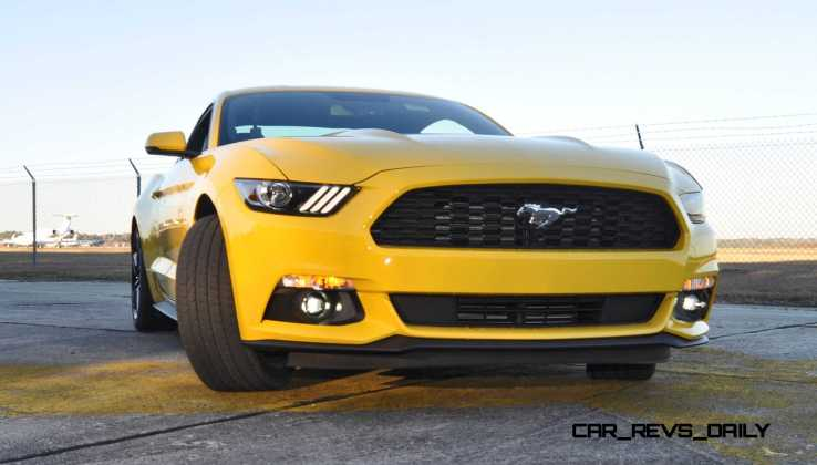 HD Road Test Review - 2015 Ford Mustang EcoBoost in Triple Yellow with Performance Pack 148