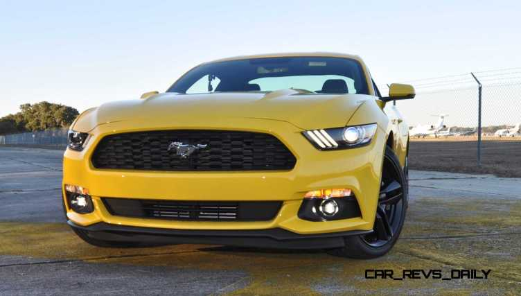 HD Road Test Review - 2015 Ford Mustang EcoBoost in Triple Yellow with Performance Pack 153
