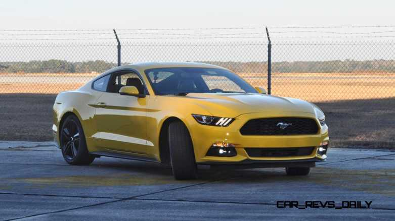 HD Road Test Review - 2015 Ford Mustang EcoBoost in Triple Yellow with Performance Pack 156
