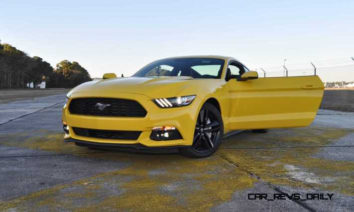 HD Road Test Review - 2015 Ford Mustang EcoBoost in Triple Yellow with Performance Pack 223