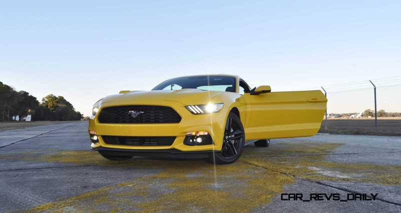 HD Road Test Review - 2015 Ford Mustang EcoBoost in Triple Yellow with Performance Pack 224