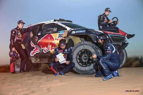 Cyril Despres and David Castera during the Peugeot test in Erfoud, Morocco, on June 16th, 2015