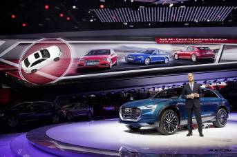 Prof. Rupert Stadler, Chairman of the Board of Management of AUDI AG, beside the concept car Audi e-tron quattro concept at the International Auto Show 2015 in Frankfurt/Main.