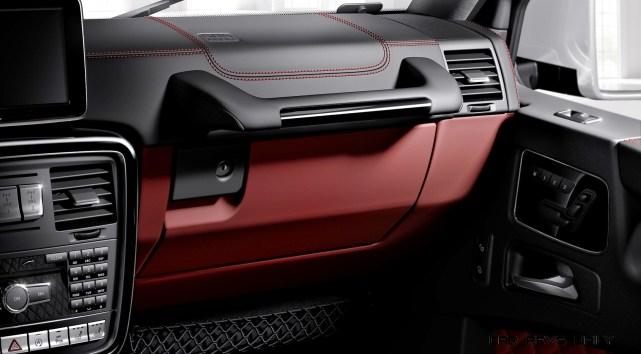 Mercedes-Benz G-Klasse, designo manufaktur, Interieur zweifarbig schwarz/rot mit roten Ziernähten Mercedes-Benz G-Klasse, designo manufaktur, two-tone interior black/red with red topstiching