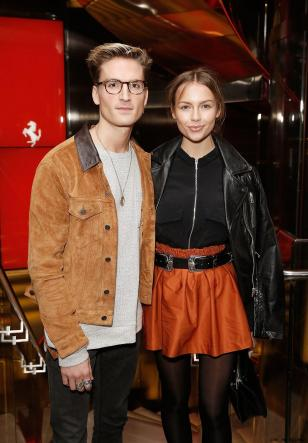 Oliver Proudlock and Emma Louise Connolly at the UK launch of the Ferrari 488 Spider at the Watches of Switzerland store, London