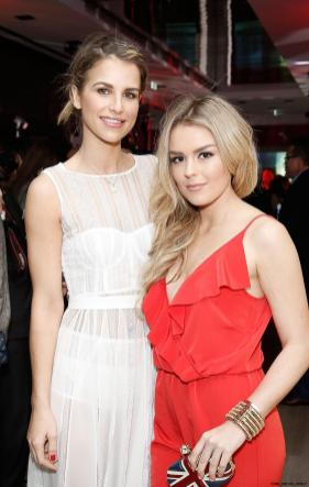 Vogue Williams and Tallia Storm close up at the UK launch of the Ferrari 488 Spider at the Watches of Switzerland store London