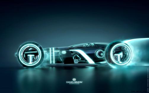 Tron Legacy Light Runner design by Daniel Simon. Copyright Disney Enterprises