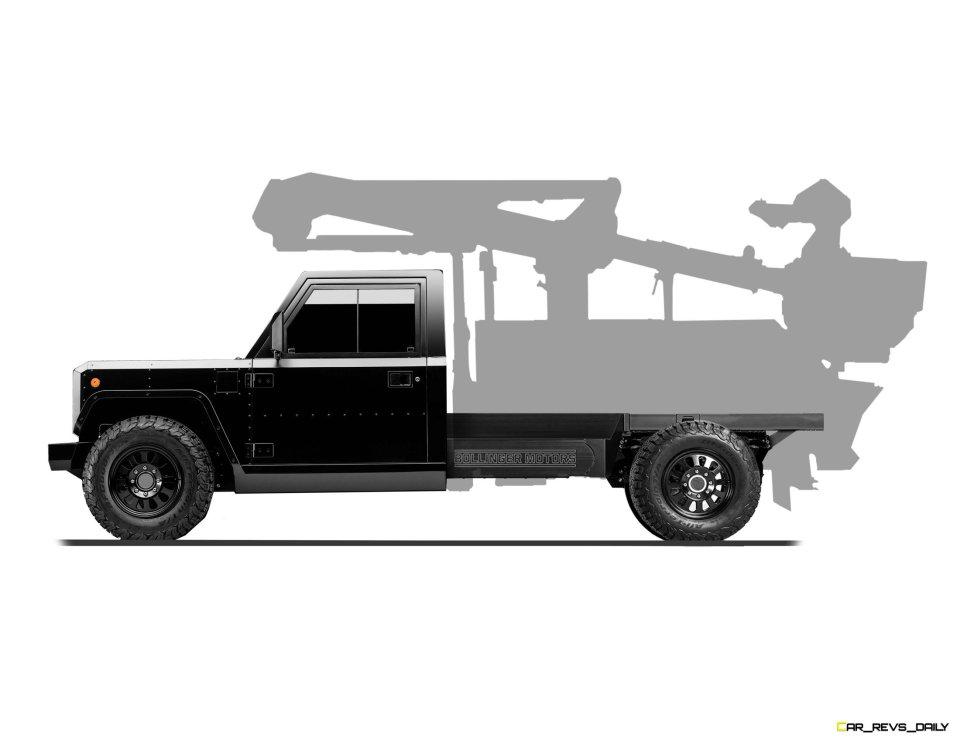 Bollinger Motors B2 Chassis Cab Bucket Truck side