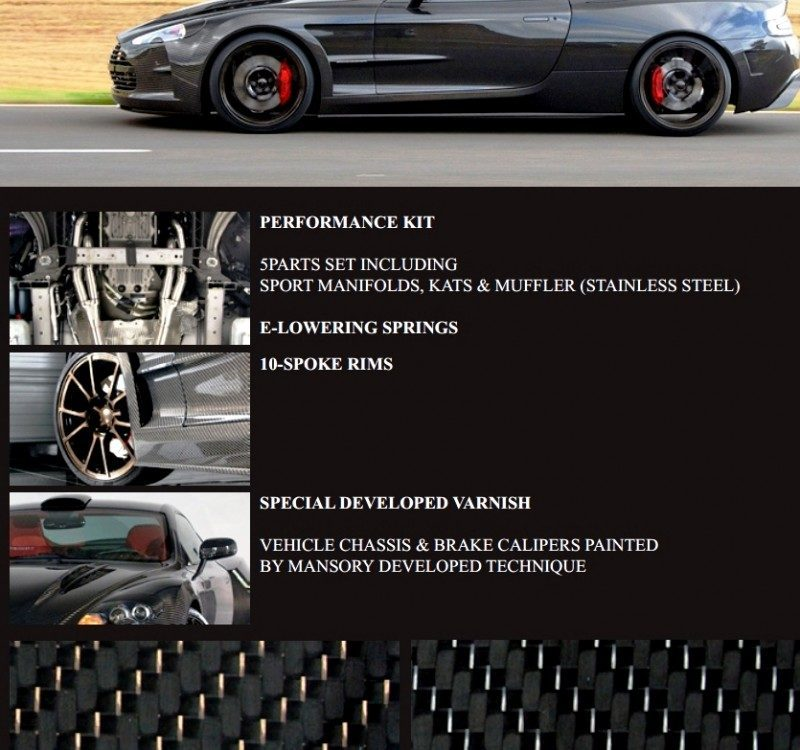 MANSORY Cyrus is Fascinating Carbon Widebody for Aston Martin DB9 and DBS 4