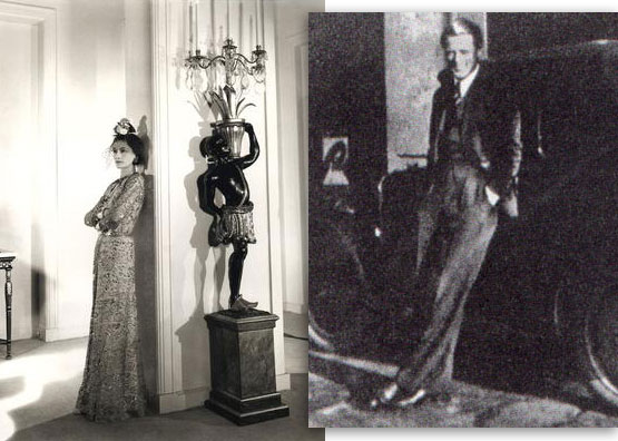 Photo Collage of Coco Chanel in Hotel Ritz and of Her Dashing Nazi Lover Baron Von
