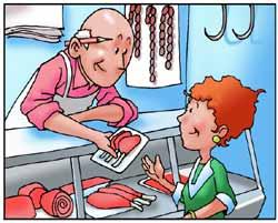 Una donna compra della carne in macelleria.